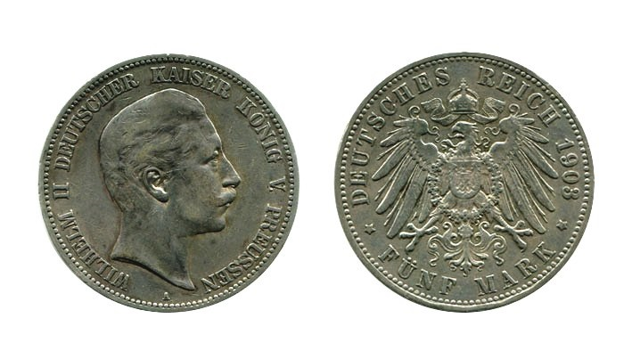 ALEMANIA. 5 Marcos 1903 A Guillermo II Prusia