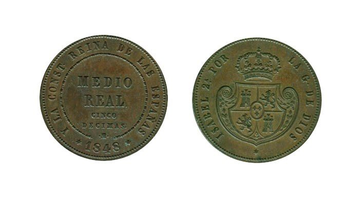 ISABEL II. 1/2 Real (5 Décimas) 1848 Madrid
