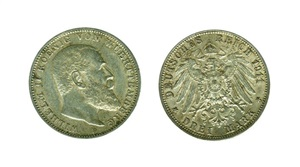 ALEMANIA. 3 Marcos 1911 F Guillermo II Wüerttemberg