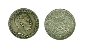 ALEMANIA. 3 Marcos Guillermo II 1908 A Prusia