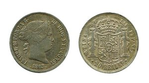 ISABEL II. 20 Reales 1863 Madrid